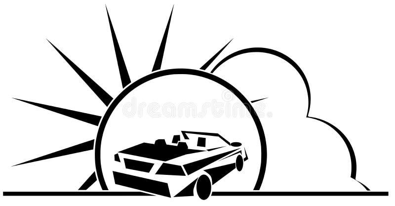 Stiliserad färgrik bil med den isolerade solen och moln vektor illustrationer