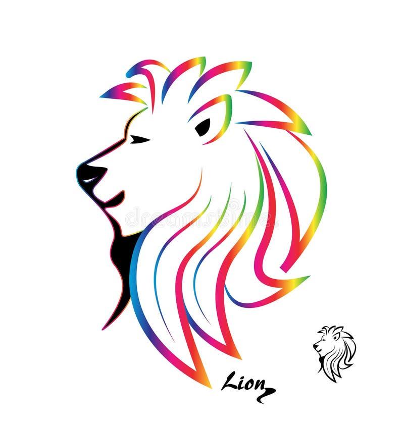 Stiliserad färgrik lejonhuvudkontur vektor illustrationer