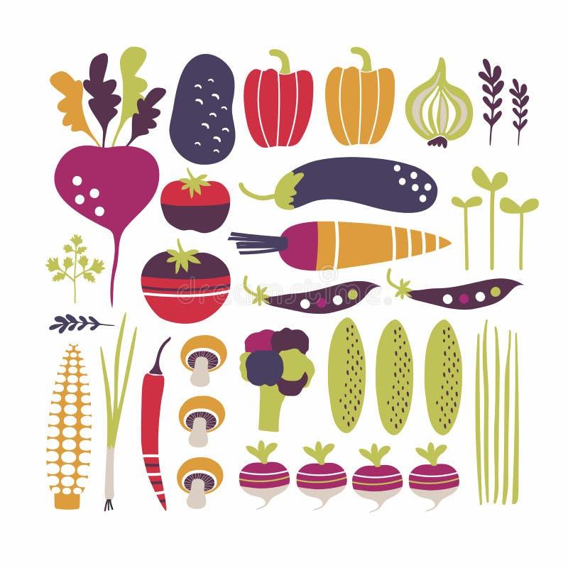 Stiliserad färgrik vektorgrönsakuppsättning stock illustrationer
