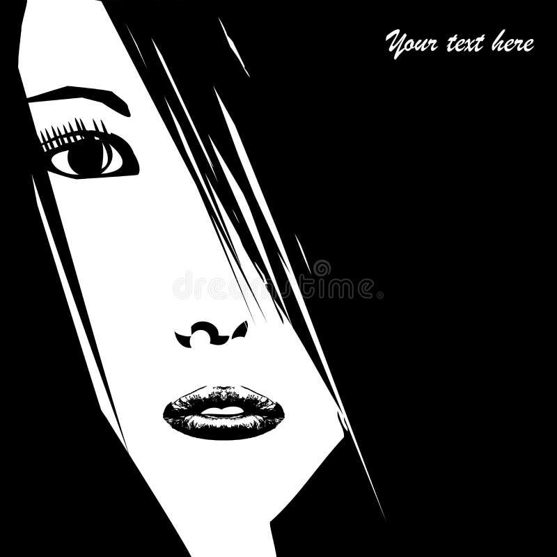 Stiliserad framsida för ung kvinna med stället för din text vektor illustrationer