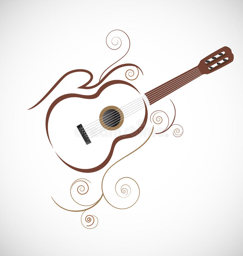 Stiliserad gitarrlogo royaltyfri illustrationer