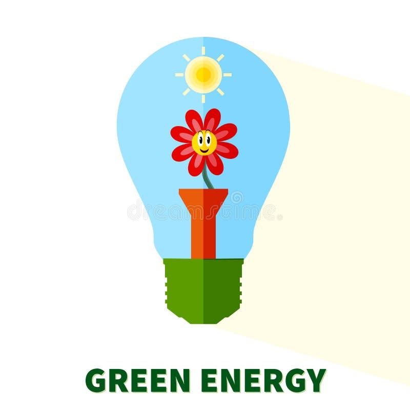 Stiliserad grön energilightbulb stock illustrationer