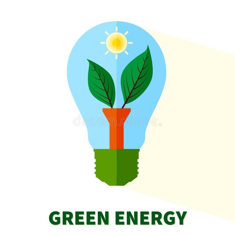 Stiliserad grön energilightbulb vektor illustrationer