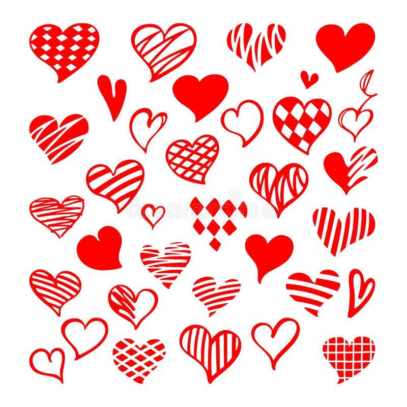 Stiliserad hand-dragen uppsättning av röda hjärtor Sankt valentinvektor Co vektor illustrationer