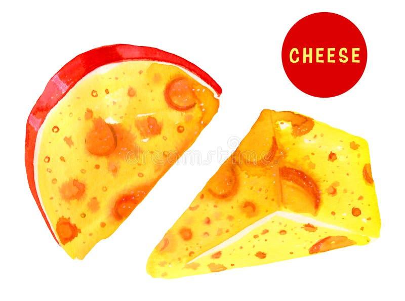 Stiliserad hand dragen vattenfärgillustrationuppsättning med ost stock illustrationer