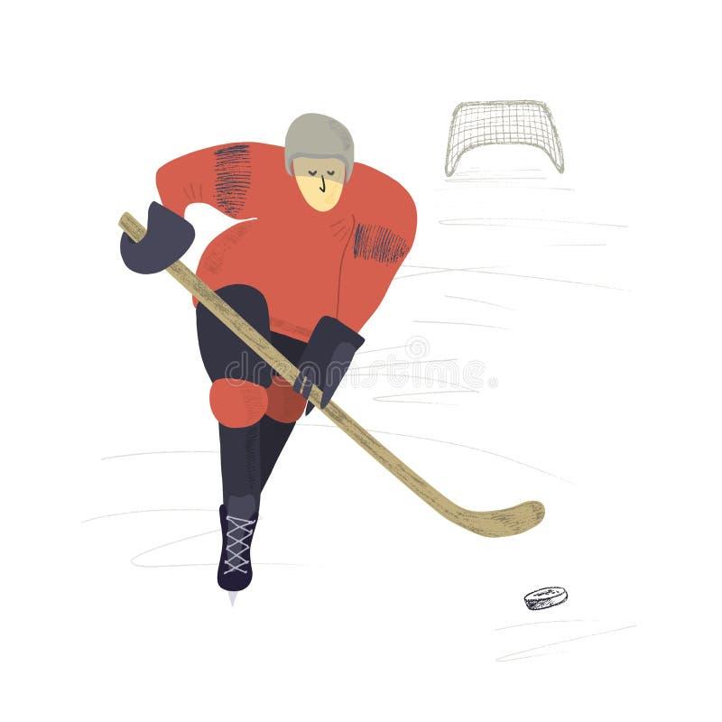 Stiliserad hockeyspelare på isbakgrund Tecknad illustration för vektor hand royaltyfri illustrationer