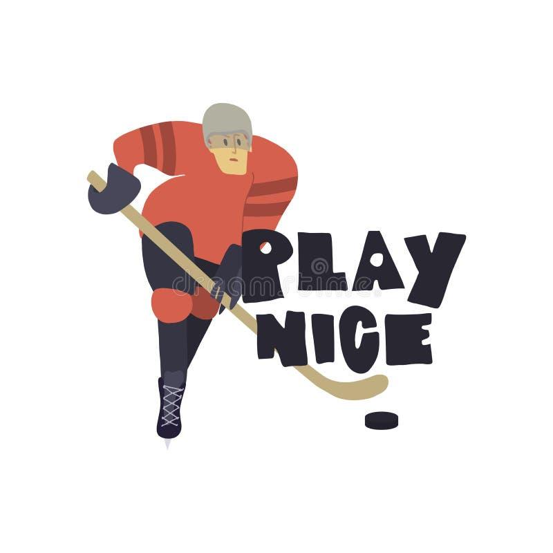 Stiliserad hockeyspelare Spela trevlig frihandstext stock illustrationer