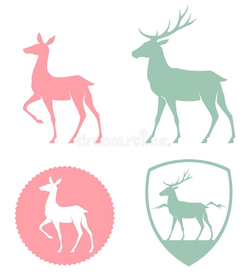 Stiliserad illustration av en doe och en hjort royaltyfri illustrationer