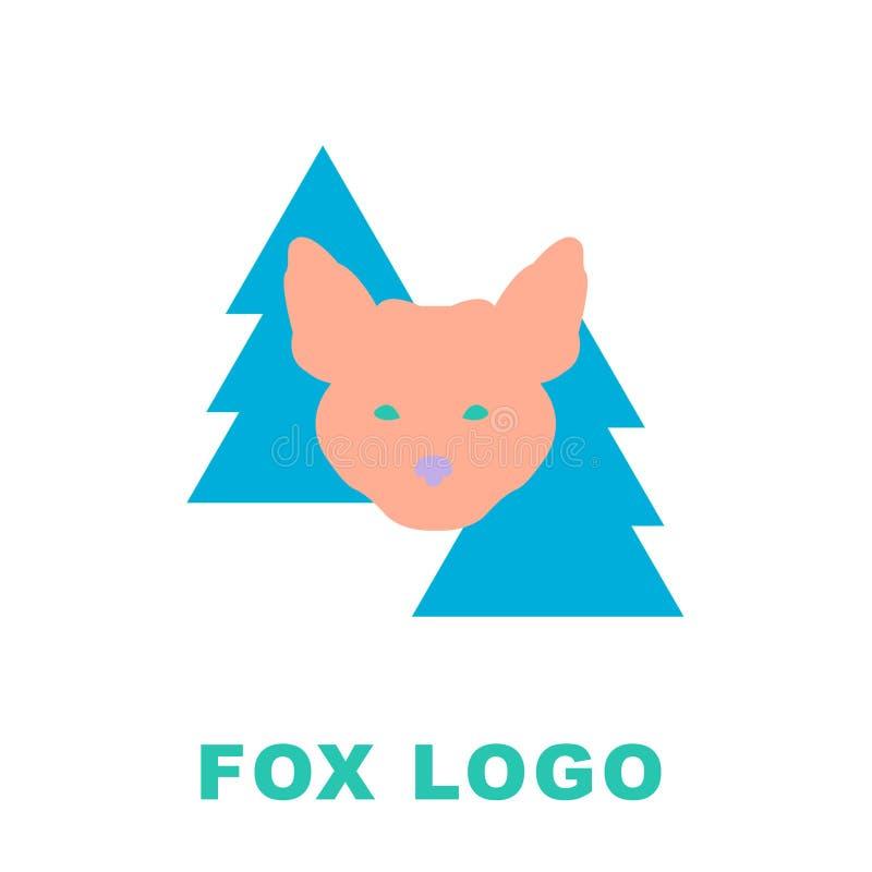 Stiliserad illustration av räven i trän Kan användas som en logomaskot royaltyfri illustrationer