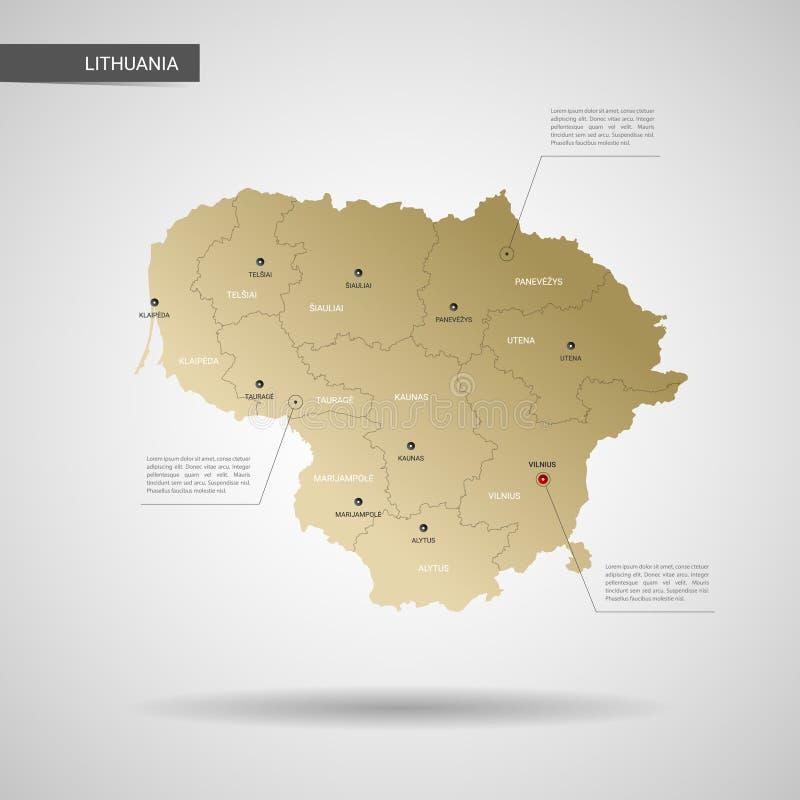 Stiliserad illustration för Litauen översiktsvektor royaltyfri illustrationer
