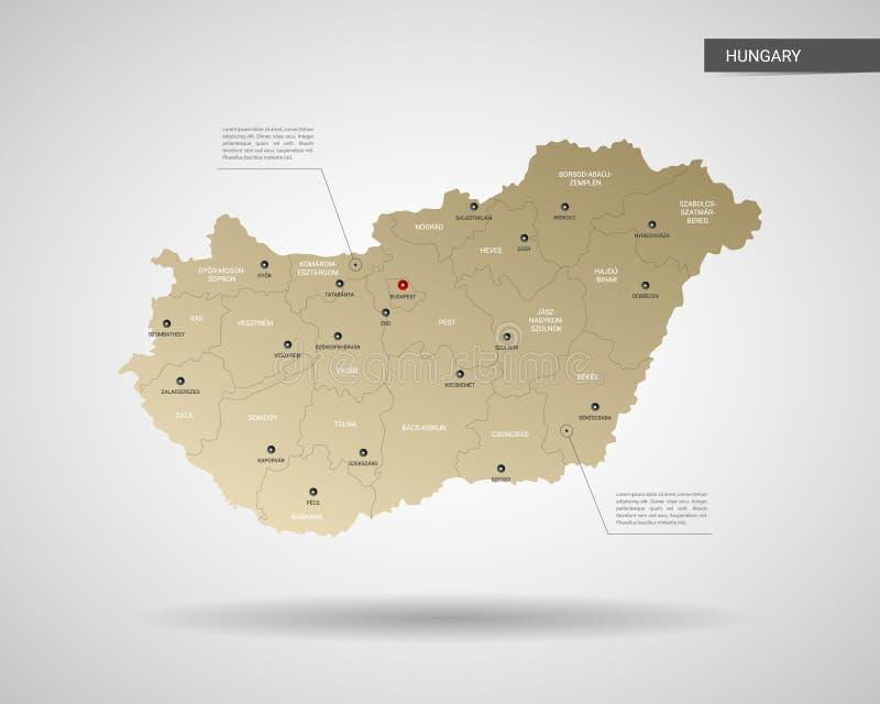 Stiliserad illustration för Ungernöversiktsvektor stock illustrationer