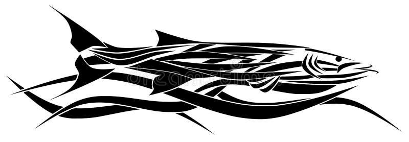 Stiliserad isolerad barracudatatuering stock illustrationer