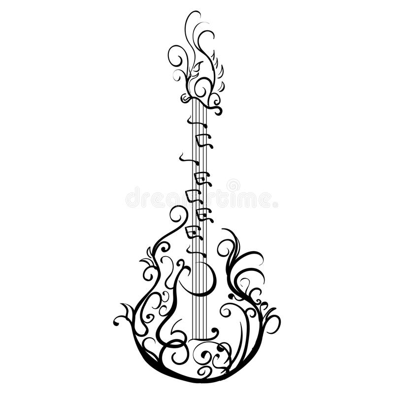 Stiliserad klassisk gitarr Retro gitarrtatuering royaltyfri illustrationer