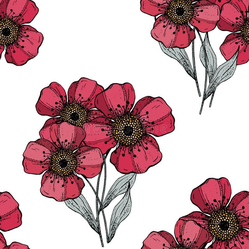 Stiliserad konst Blom- mall f?r vektor Sömlös modell för lantliga tappningtjänstledigheter på vit bakgrund royaltyfri illustrationer