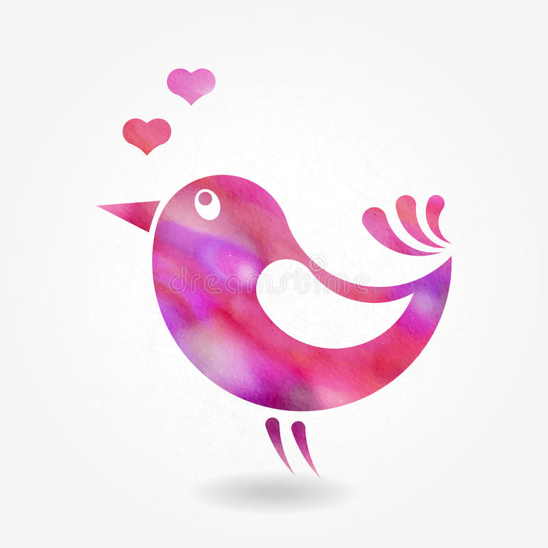 Stiliserad kontur av den lilla fågeln stock illustrationer