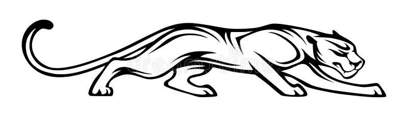Stiliserad kontur av pantern Djur illustration för vektor, svart som isoleras på vit bakgrund Grafisk bild för tatueringen, logo  vektor illustrationer