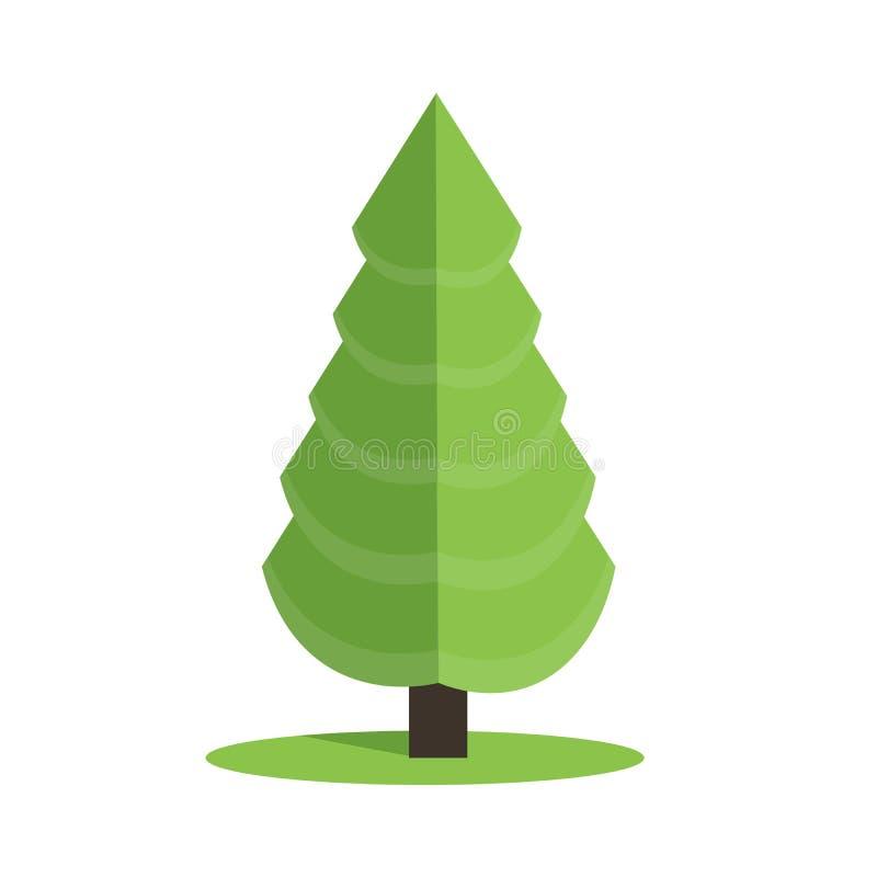 Stiliserad låg poly illustration för polygongräsplanjulgran vektor illustrationer