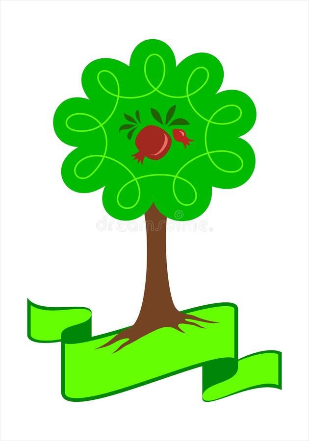 Stiliserad logo för granatäppleträd vektor illustrationer