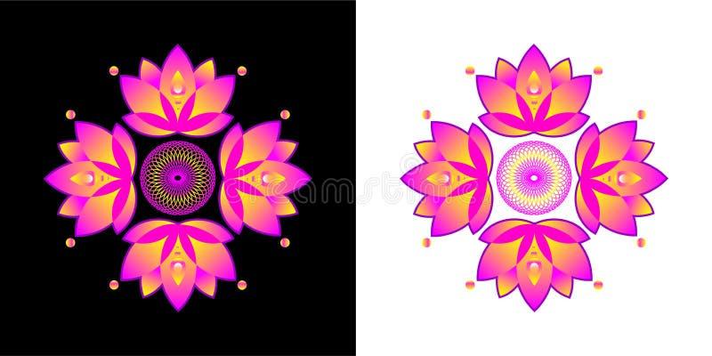 Stiliserad lotusblommablomma Komma med bra lycka vektor illustrationer