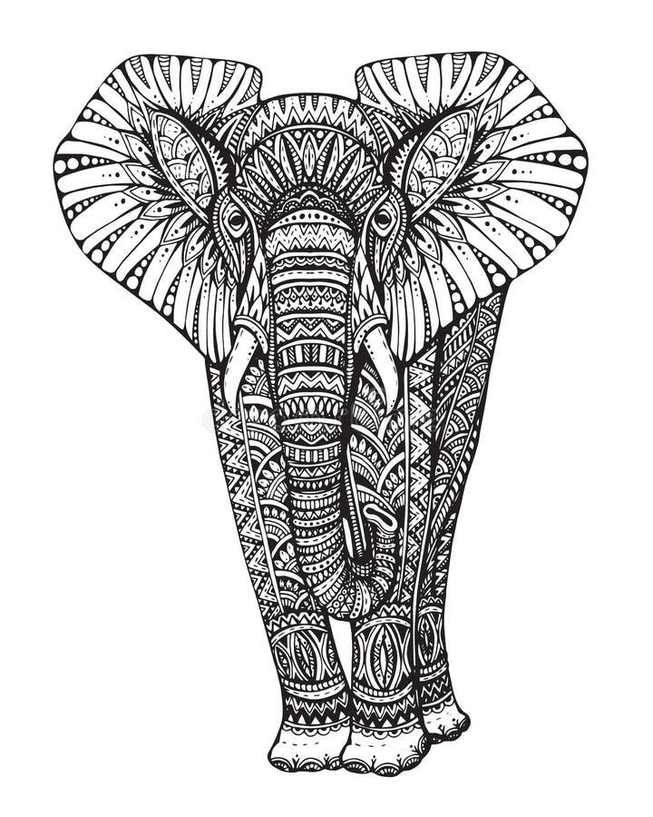 Stiliserad mönstrad elefant för fantasi stock illustrationer