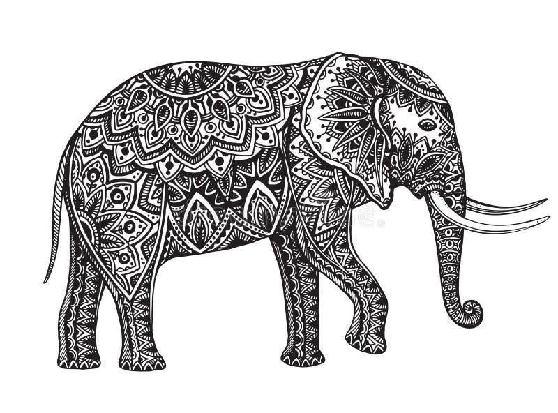 Stiliserad mönstrad elefant för fantasi Hand dragen vektorillustrat royaltyfri illustrationer