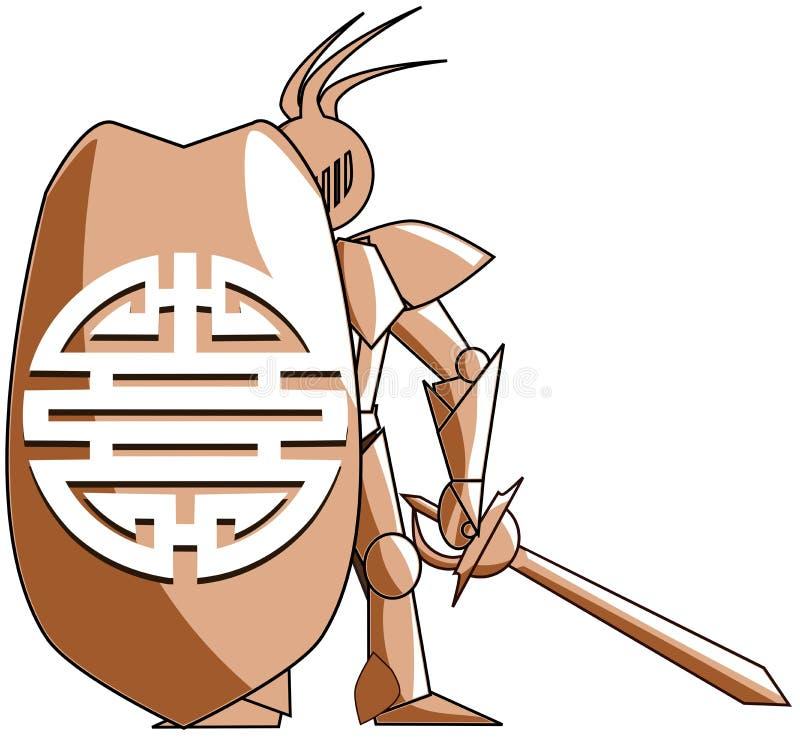 Stiliserad medeltida riddare med kinesiskt symbol av dubbel lycka vektor illustrationer