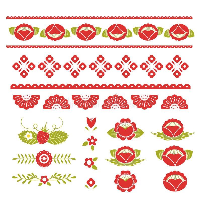 Stiliserad modell, folkkonst, blom- prydnad i röda och gröna färger Symmetrisk modellvektorbakgrund vektor illustrationer