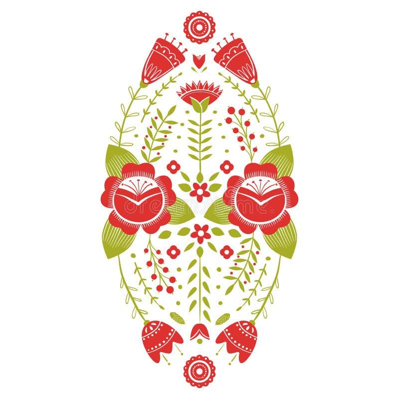Stiliserad modell, folkkonst, blom- prydnad i röda och gröna färger Symmetrisk modellvektorbakgrund Rött och stock illustrationer