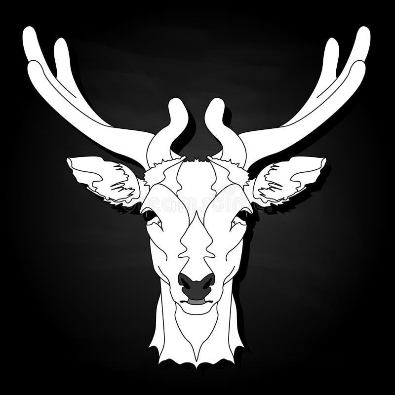 Stiliserad monokrom illustration för hjorthuvudvektor som isoleras på svart bakgrund stock illustrationer