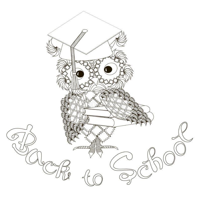 Stiliserad monokrom uggla på studentlocket som märker Backto för att skola klotterstilanti-spänning royaltyfri illustrationer