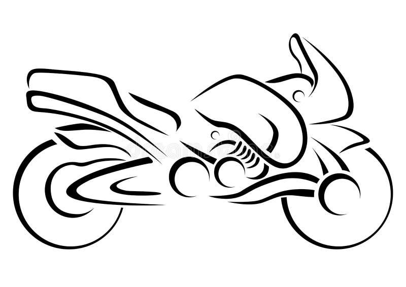 Stiliserad motorcykelvektorillustration royaltyfri illustrationer