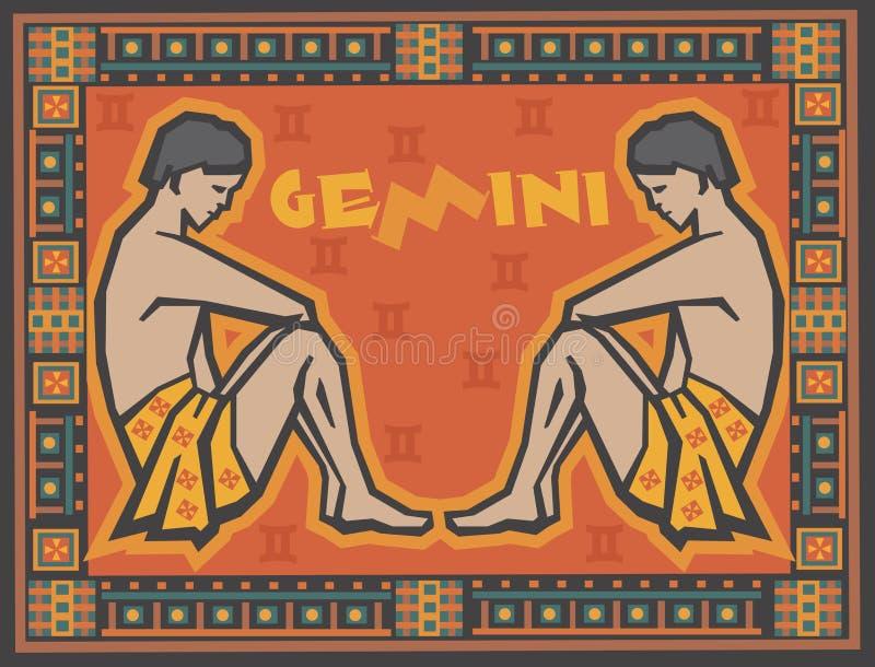 Stiliserad och dekorativ zodiak stock illustrationer