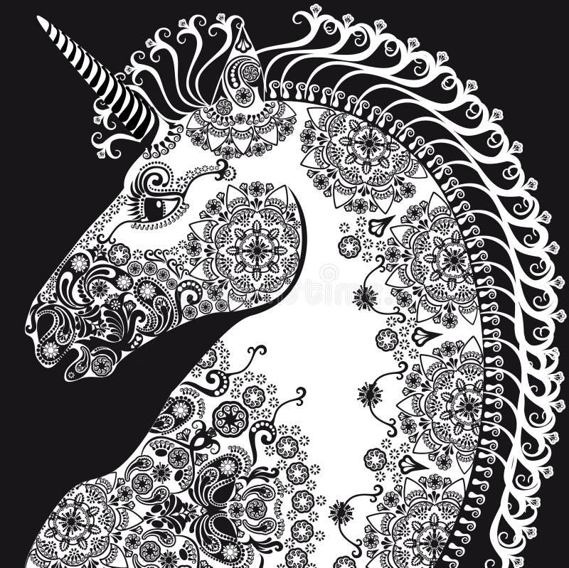 Stiliserad profilenhörninghuvud, bleack och vit royaltyfri illustrationer