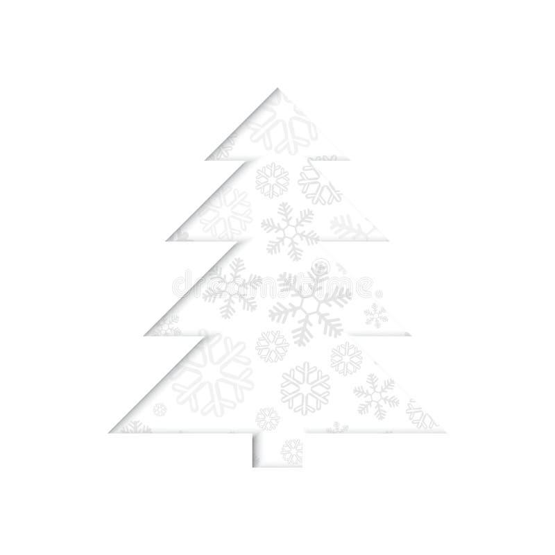 Stiliserad retro julgran med snöflingan. royaltyfri illustrationer