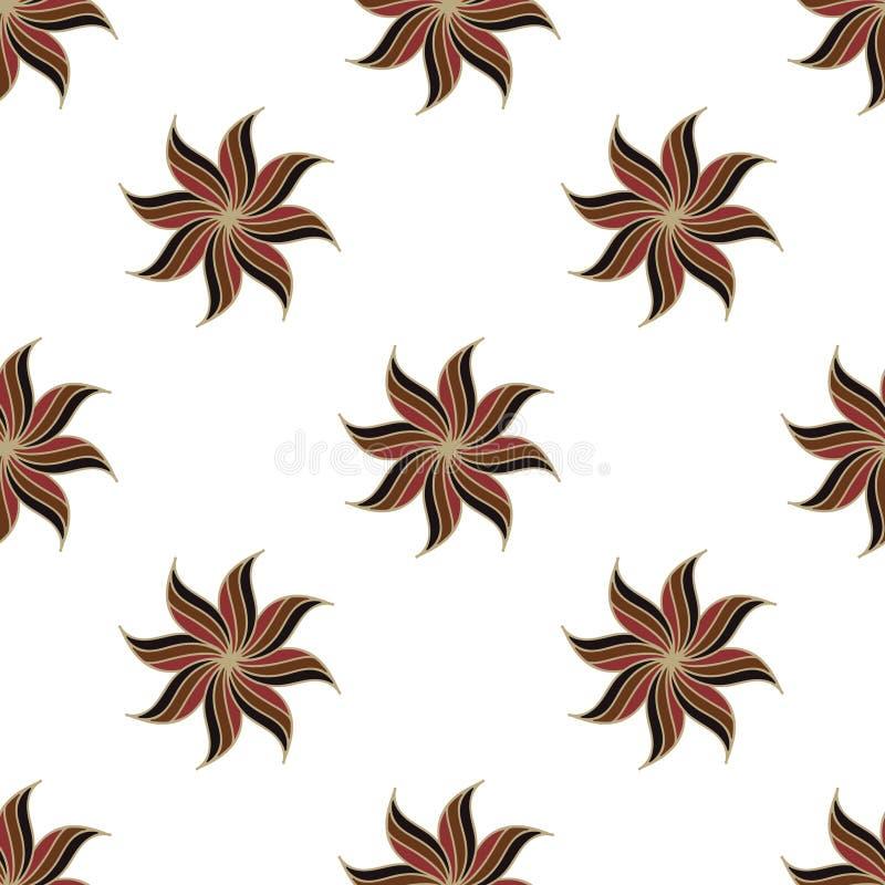 Stiliserad sömlös modell för stjärnaanis Bruna beståndsdelar på vit bakgrund vektor illustrationer