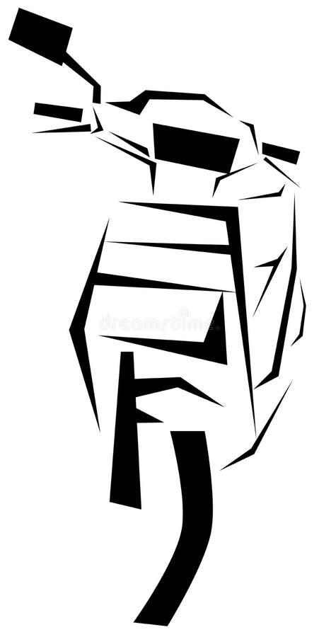Stiliserad sparkcykel i svart vektor illustrationer