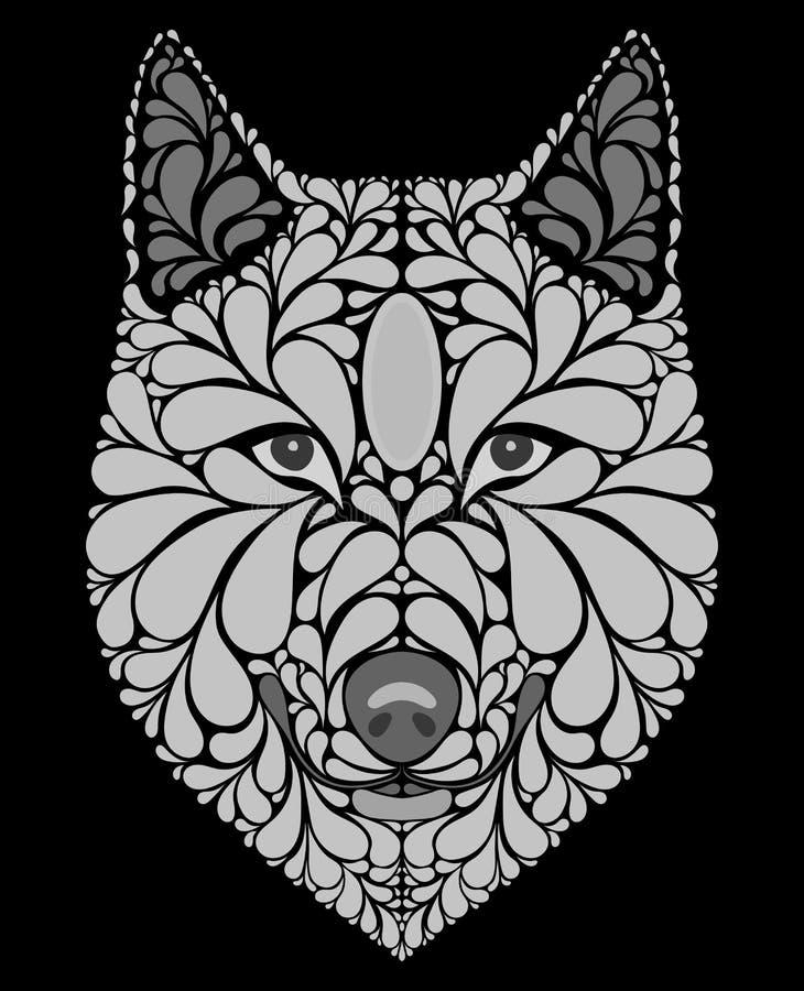 Stiliserad stående av en varg Abstrakt hundhuvud Ett rov- djur Svartvit illustration Tatuering tryck vektor illustrationer