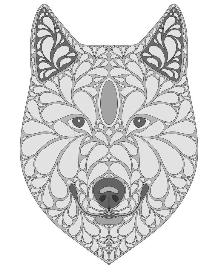Stiliserad stående av en varg Abstrakt hundhuvud Ett rov- djur Svartvit illustration Tatuering tryck stock illustrationer