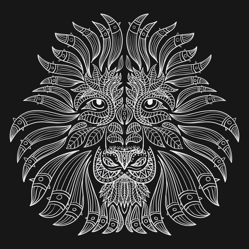 Stiliserad stående av ett lejon Dekorativ stående av en lös katt Huvudet av ett rov- djur Tatuering stock illustrationer