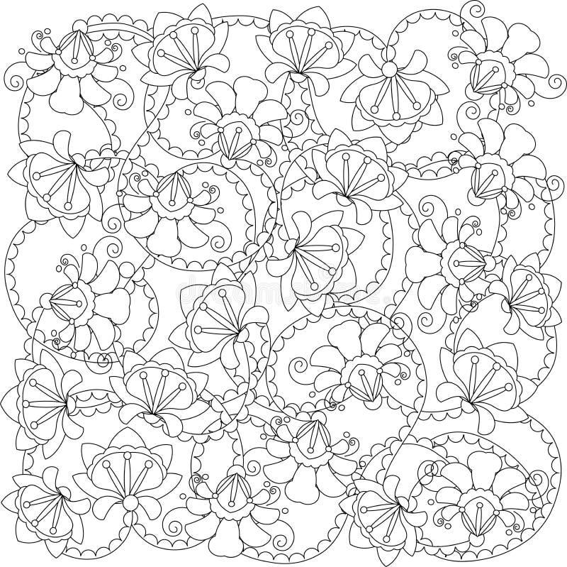Stiliserad svartvit hand dragen blommamodell, anti-spänning stock illustrationer
