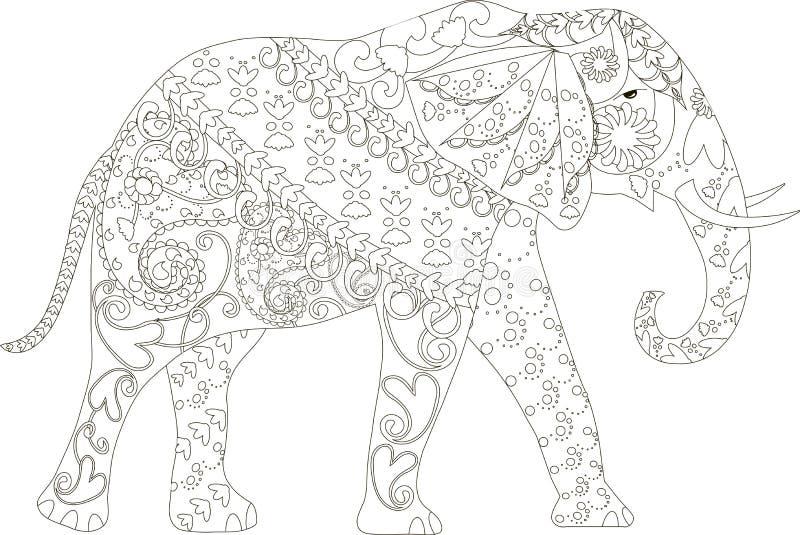 Stiliserad svartvit hand dragen elefant, anti-spänning vektor illustrationer