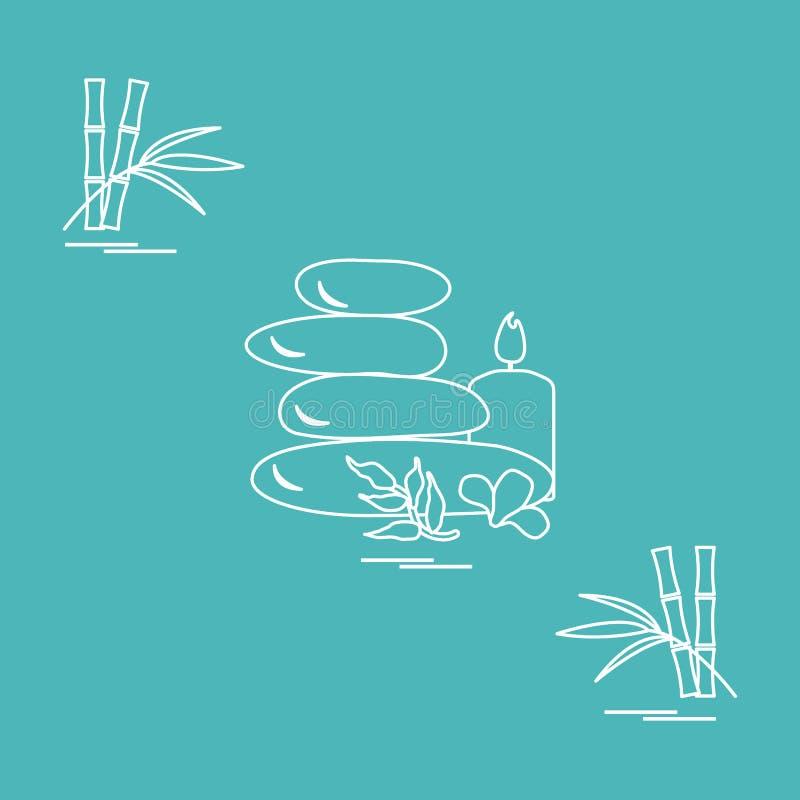 Stiliserad symbol av massagestenar för brunnsorttillvägagångssätt, sidor, flöde stock illustrationer