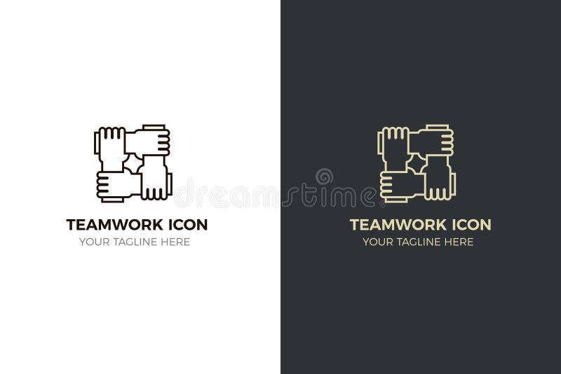 Stiliserad symbolsdesign med 4 händer som tillsammans rymmer Illustrationen för olika begrepp gillar teamwork, gemenskap, enhet royaltyfri illustrationer