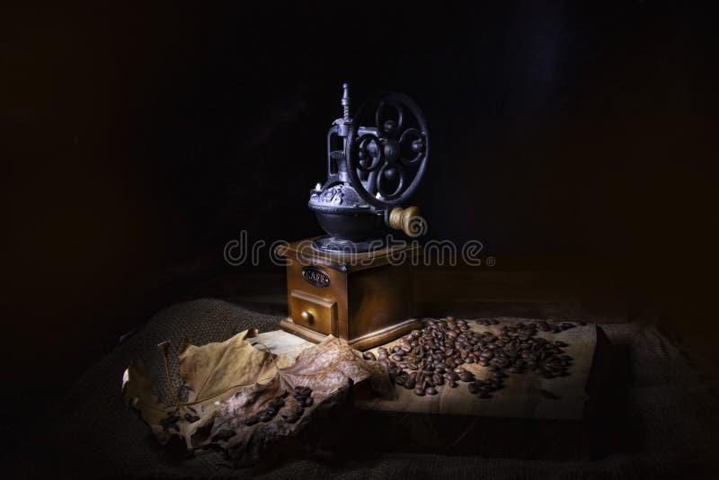 Stiliserad tappningkaffekvarn på en trätabell som strilas med kaffebönor och torra sidor royaltyfria bilder