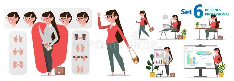 Stiliserad teckenuppsättning för animering Kvinnakontorsyrken vektor illustrationer