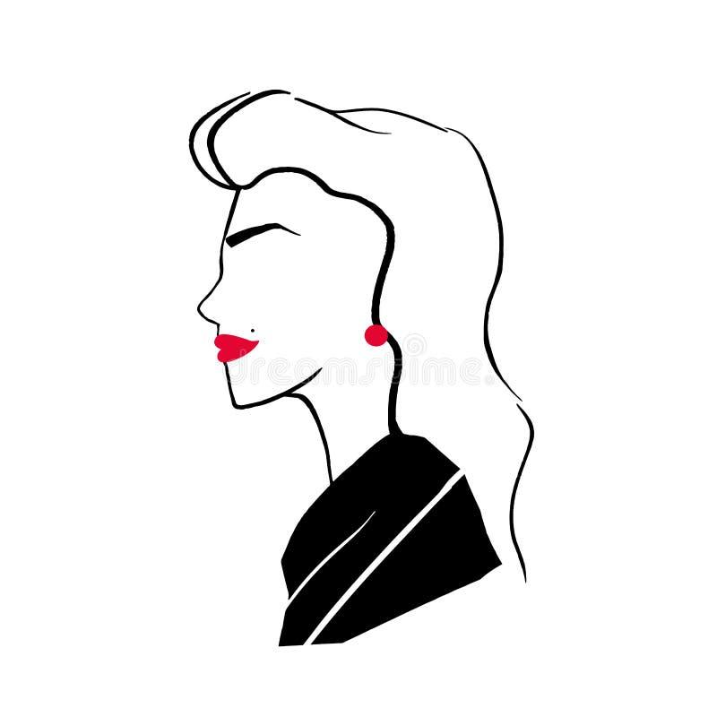 Stiliserad teckning av den eleganta trendiga nätta flickan Profilstående av den unga stilfulla kvinnan med röda kanter, örhängen  royaltyfri illustrationer