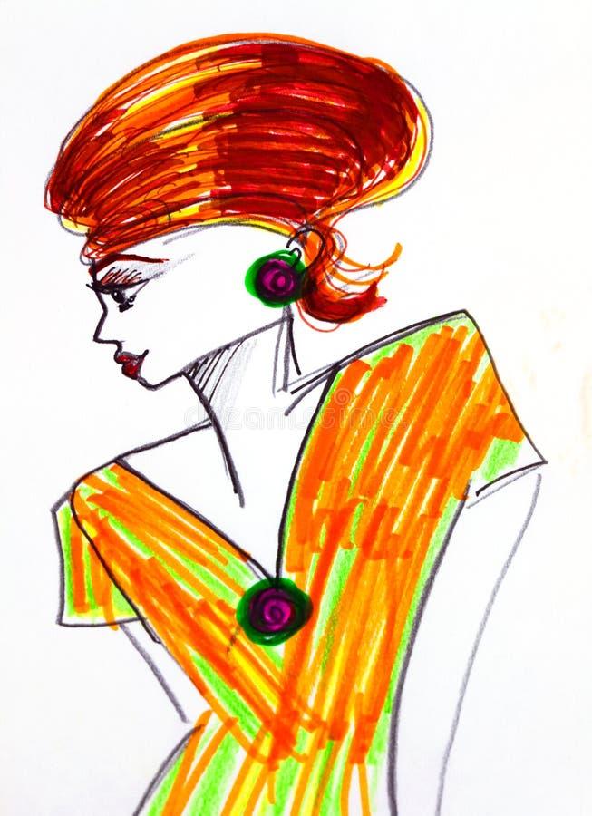 Stiliserad teckning av kvinnan royaltyfri illustrationer