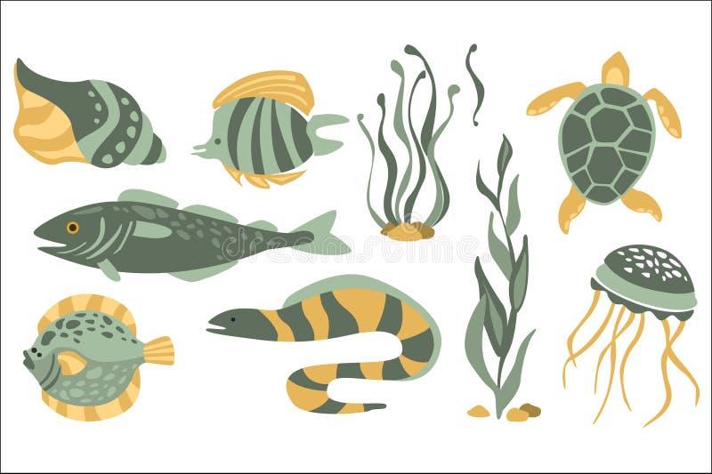 Stiliserad undervattens- natursamling av symboler i plan Atristic vektordesign på vit bakgrund royaltyfri illustrationer