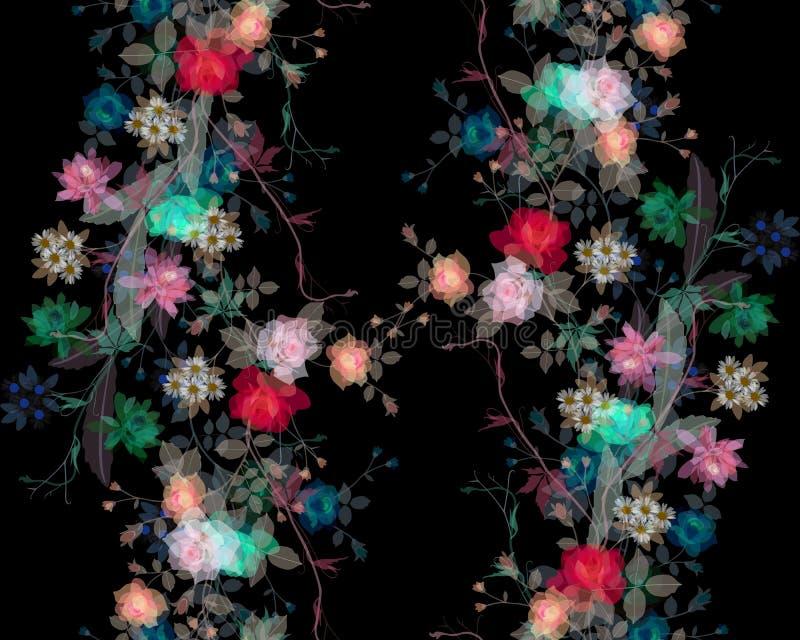 Stiliserad vattenfärgmålning av bladet och blommor på svart bakgrund royaltyfri illustrationer