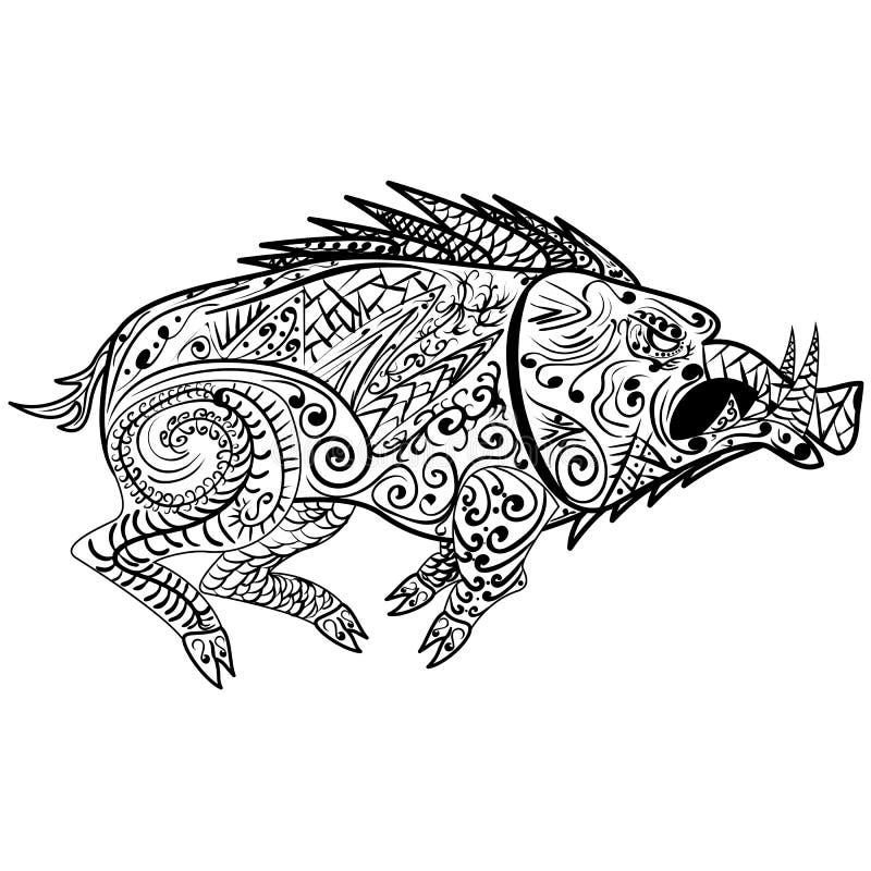 Stiliserad vildsvinrazorback, vårtsvin, gödsvin, svin som isoleras på vit bakgrund stock illustrationer